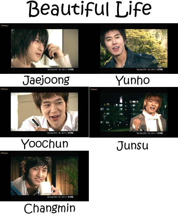 "The members of TVXQ in the ""Beautiful Life"" MV"
