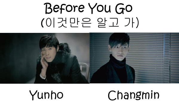 "Te members of TVXQ in the ""Before You Go"" MV"