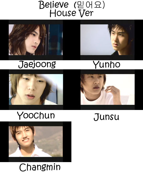 """The members of TVXQ in the """"Believe (House Ver.)"""" MV"""