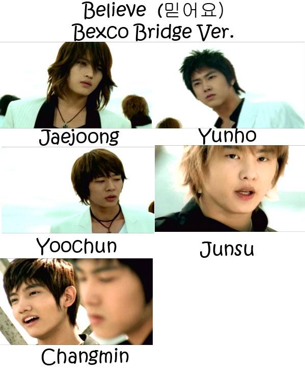"The members of TVXQ in the ""Believe (Bexco Bridge ver.) MV"