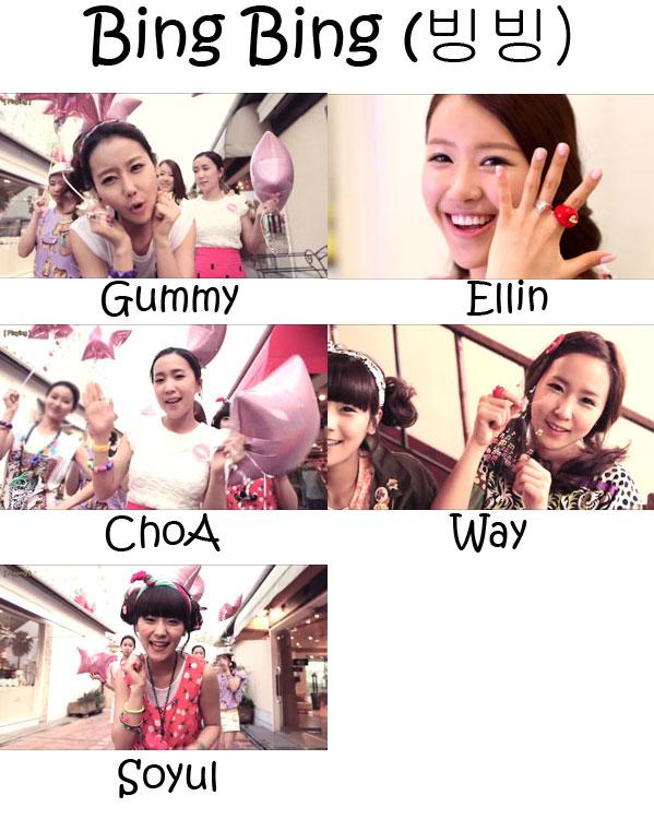"The members of Crayon Pop in the ""Bing Bing"" MV"