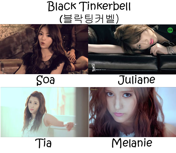 "The members of ChoColat in the ""Black Tinkerbell"" MV"