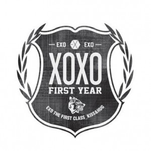 "Album art for EXO's album ""The First Year: Kiss / Hug"""