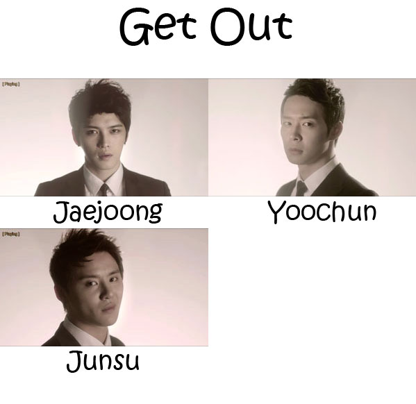 "The members of JYJ in the ""Get Out"" MV"