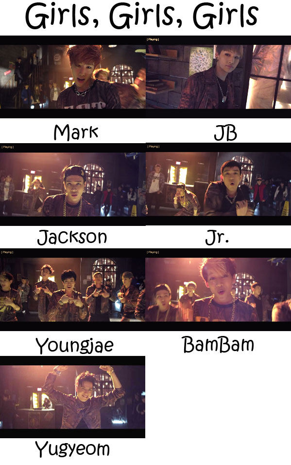 "The members of GOT7 in the ""Girls, Girls, Girls"" MV"