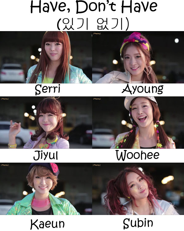 "The members of Dal★Shabet in the ""Have, Don't have (Don't Have Version)"" MV"