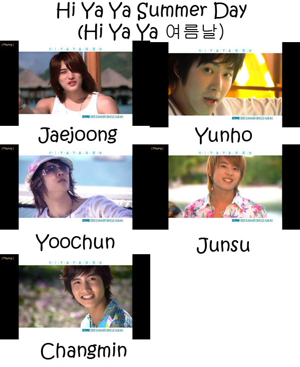"The members of TVXQ in the ""HiYaYa Summer Day"" MV"