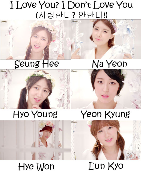 "The members of F-VE DOLLS in the ""I Love You? I Don't Love You!"" MV"