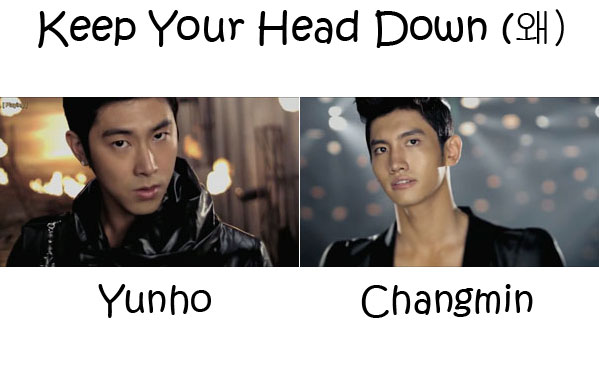 "The members of TVXQ in the ""Keep You Head Down"" MV"
