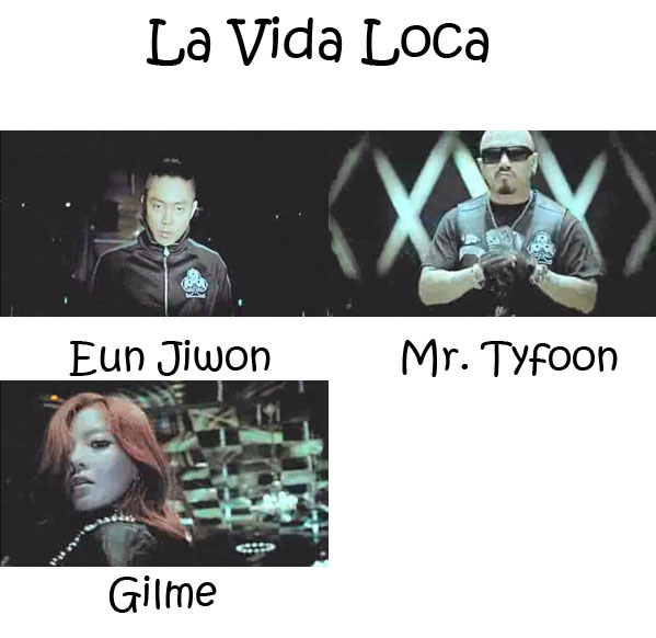 "The members of Clover in the ""La Vida Loca"" MV"