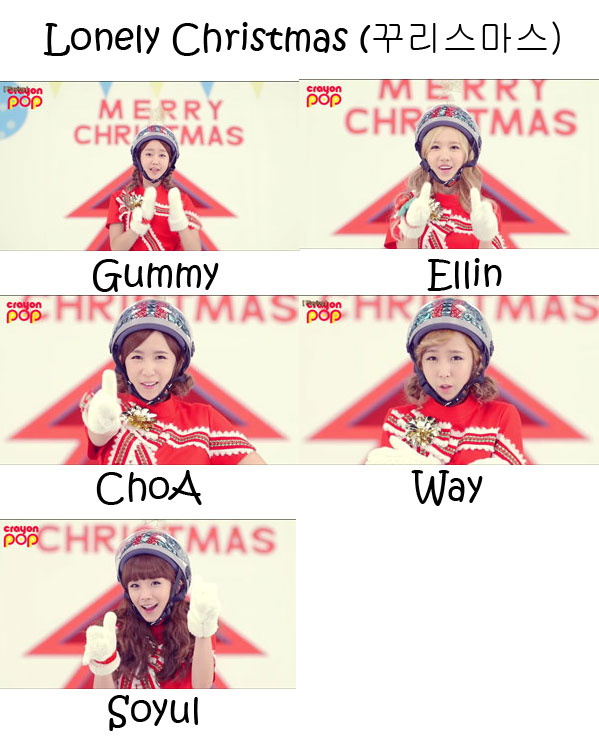 "The members of Crayon Pop in the ""Lonely Christmas"" MV"