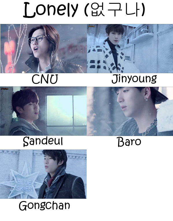 "The members of B1A4 in the ""Lonely"" MV"