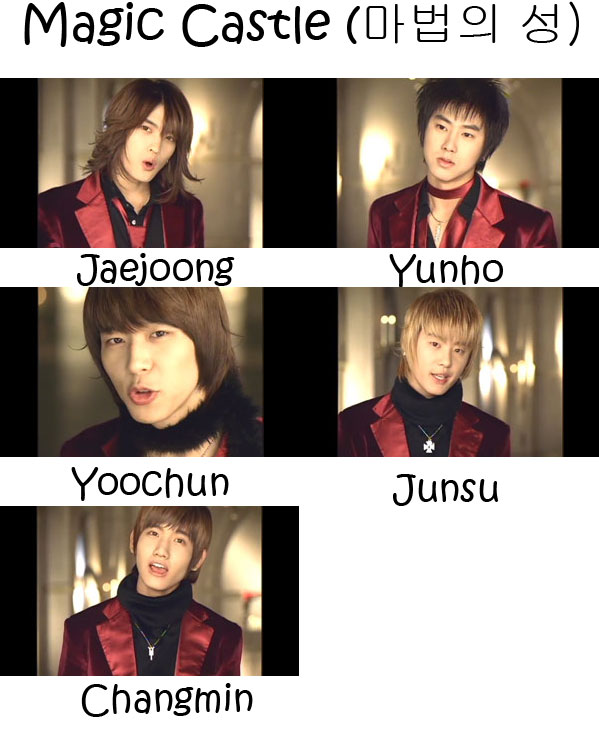 "The members of TVXQ in the ""Magic Castle"" MV"