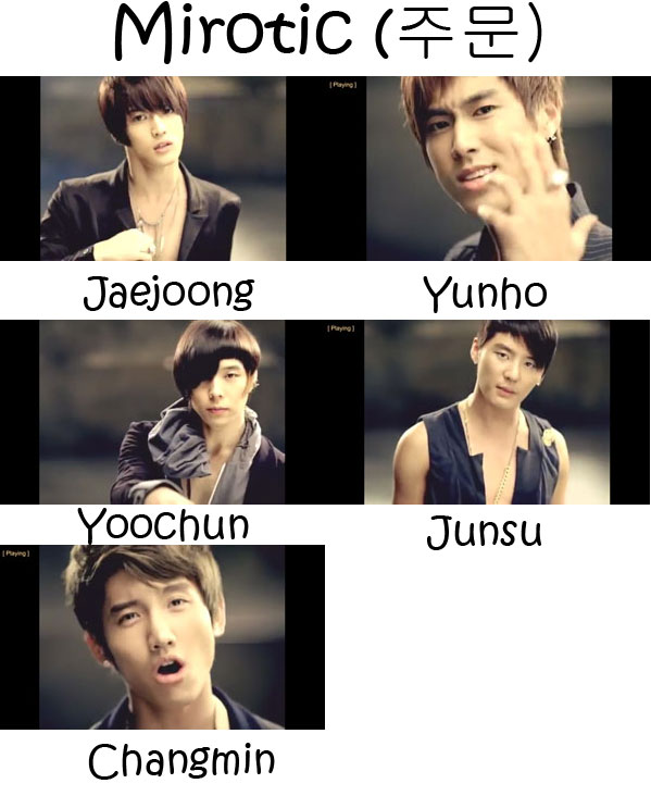 "The members of TVXQ in the ""Mirotic"" MV"