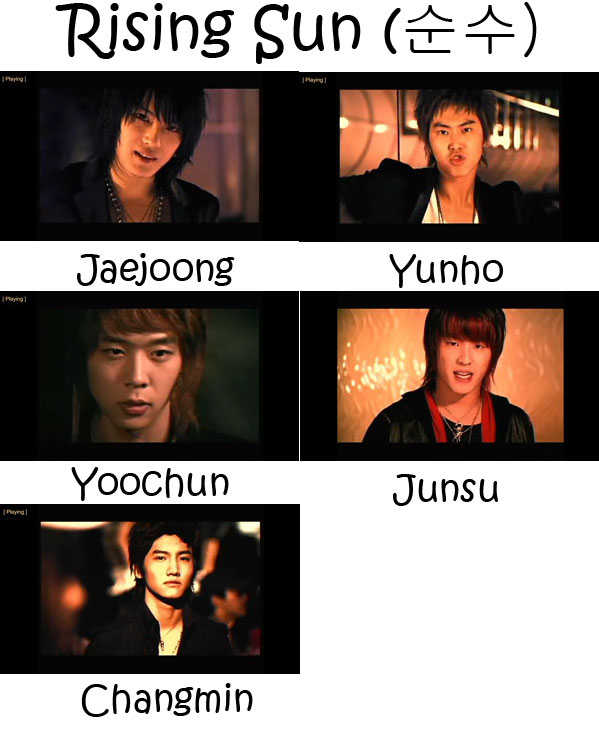 "The members of TVXQ in the ""Rising Sun"" MV"