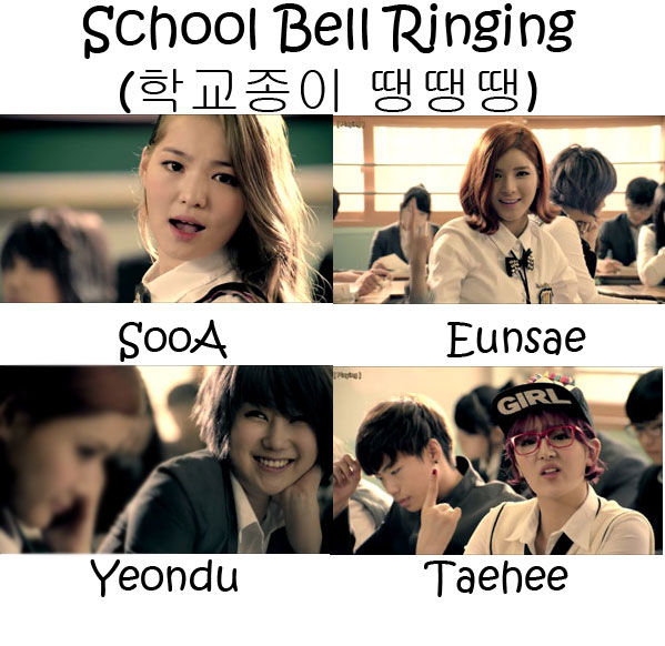 "The members of Delight in the ""School Bell Ringing"" MV"