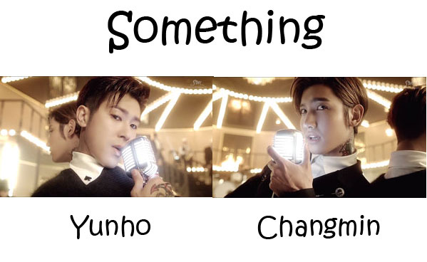 "The members of TVXQ in the ""Something"" MV"