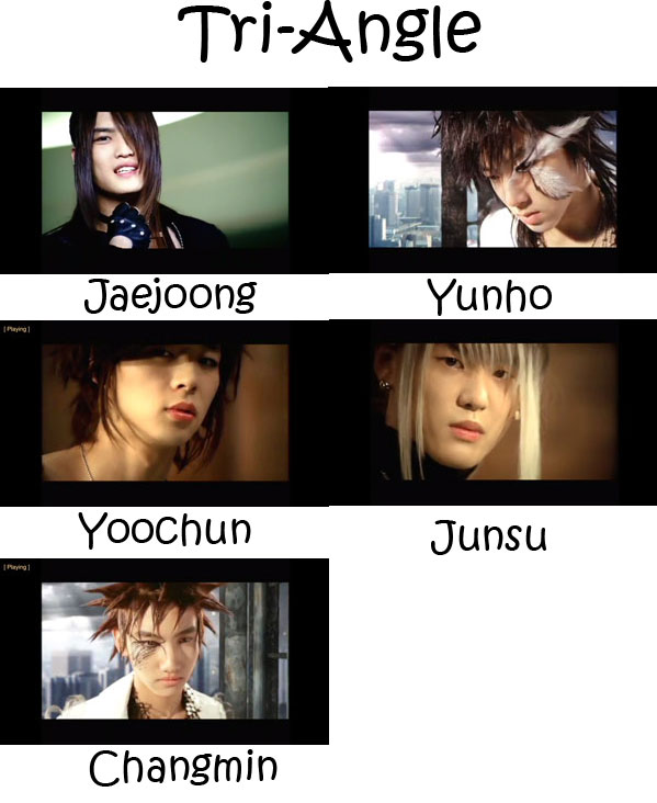 "The members of TVXQ in the ""Tri-Angle"" MV"