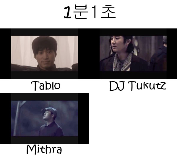 "The members of Epik High in the ""1 Minute 1 Second"" MV"
