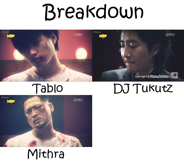 "The members of Epik High in the ""Breakdown"" MV"