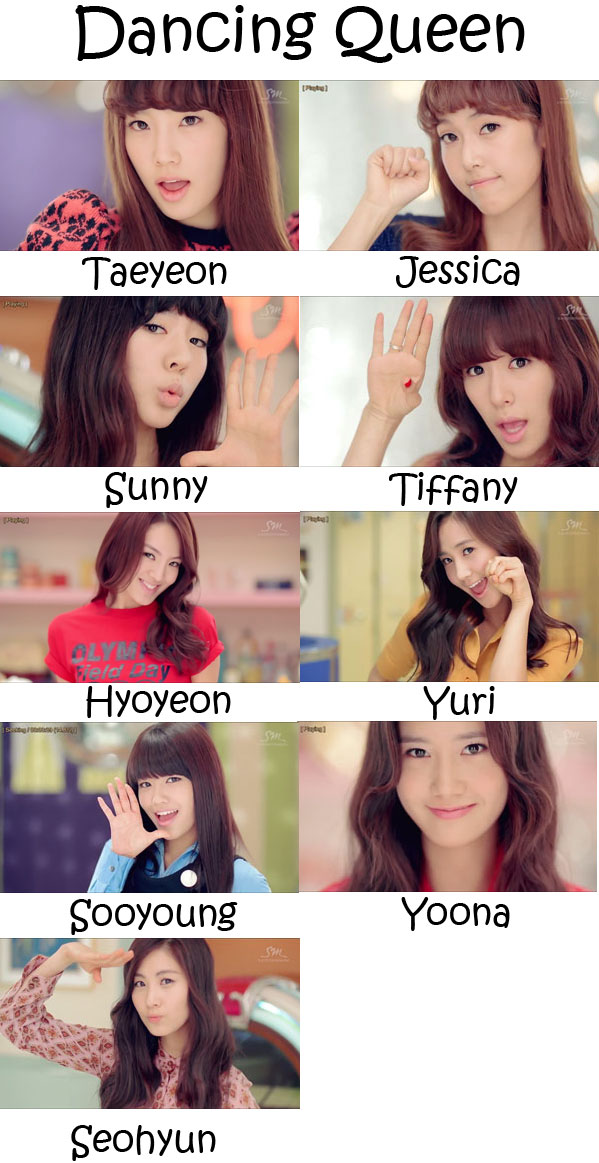 "The members of Girls' Generation in the ""Dancing Queen"" MV"