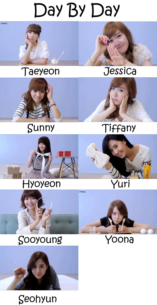 "The members of Girls' Generation in the ""Day By Day"" MV"