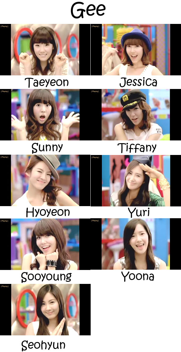 "The members of Girls' Generation in the ""Gee"" MV"