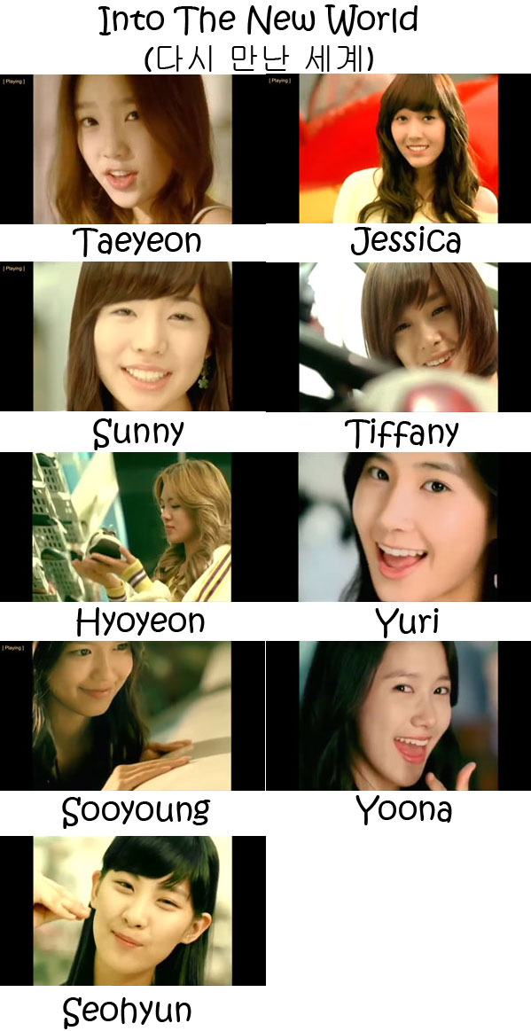 "The members of Girls' Generation in the ""Into The New World"" MV"