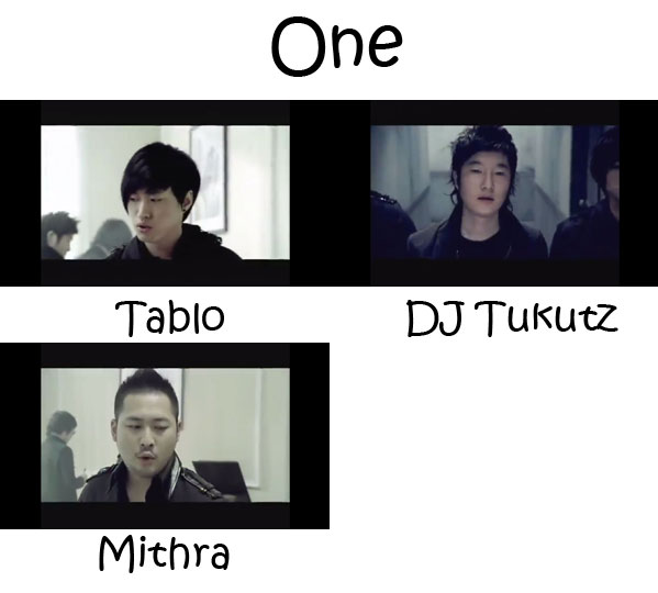 "The members of Epik High in the ""One"" MV"