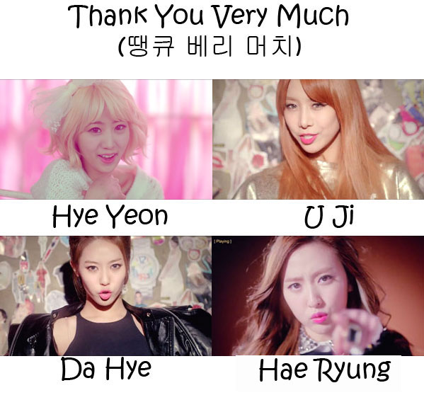 "The members of BESTie in the ""Love Options"" MV"