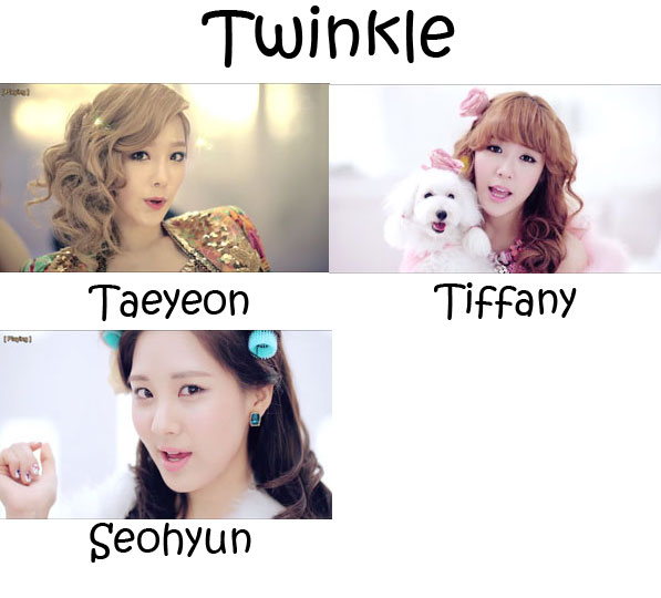 "The members of Girls' Generation's sub-unit TaeTiSeo in the ""Twinkle"" MV"