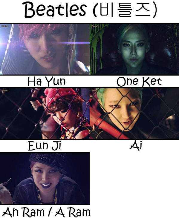 "The members of GI (Global Icon) in the ""Beatles"" MV"