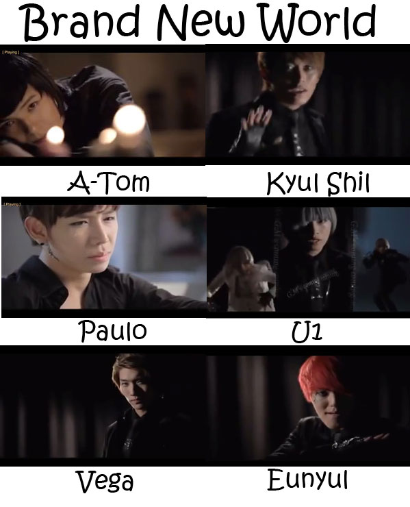 "The members of G.IAM in the ""Brand New World"" MV"