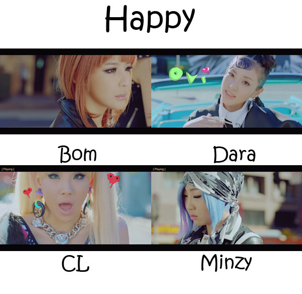 "The members of 2NE1 in the ""Happy"" MV"