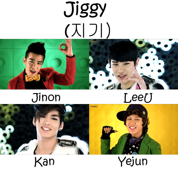 "The members of F.Cuz in the ""Jiggy"" MV"