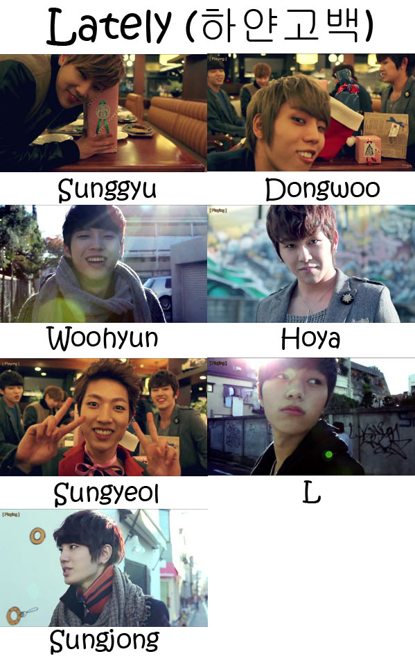 "The members of Infinite in the ""Lately"" MV"