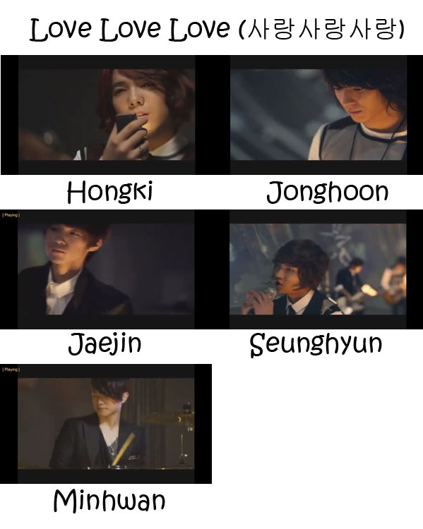 "The members of FTISLAND in the ""Love Love Love"" MV"