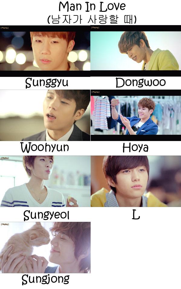 "The members of Infinite in the ""Man In Love"" MV"
