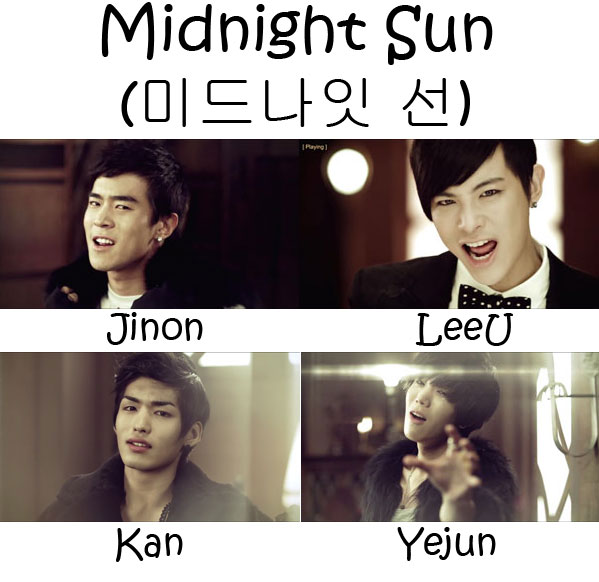 "The members of F.Cuz in the ""Midnight Sun"" MV"