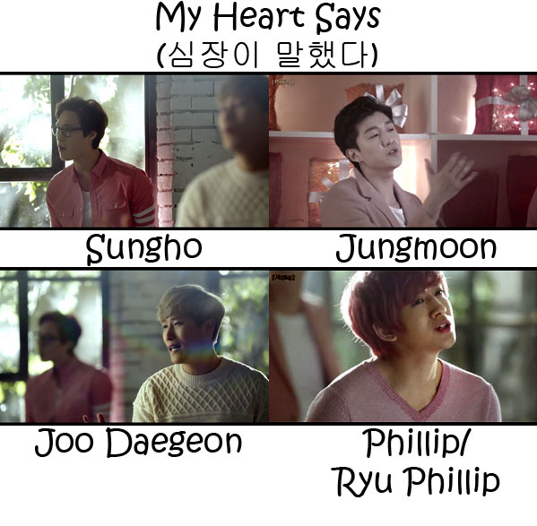 "The members of SoReal in the ""My Heart Says"" MV"