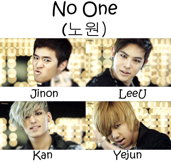 "The members of F.Cuz in the ""No One"" MV"