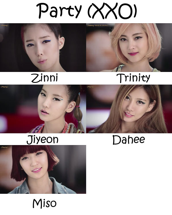 "The members of GLAM in the ""Party (XXO)"" MV"