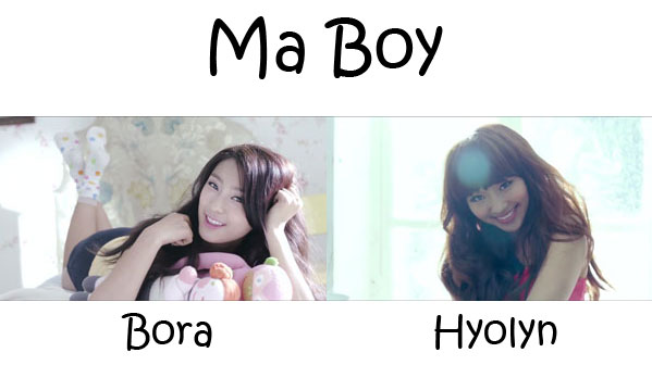 "The members of SISTAR's sub-unit in the Sistar19 video for ""Ma Boy"""