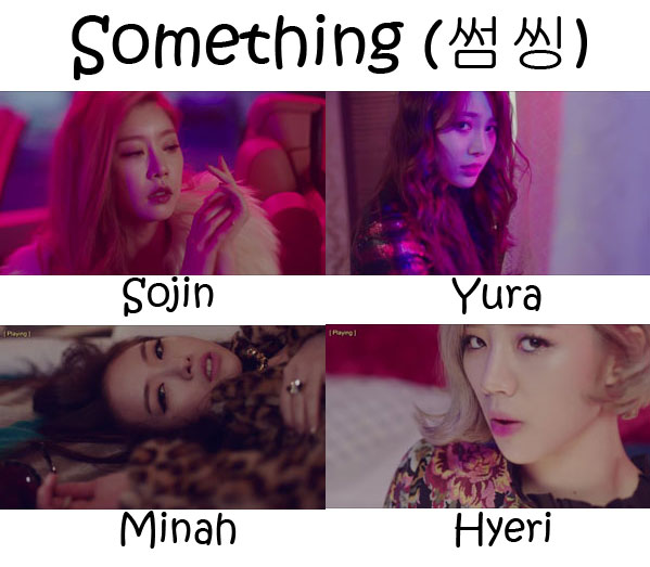 "The members of Girl's Day in the ""Something"" MV"