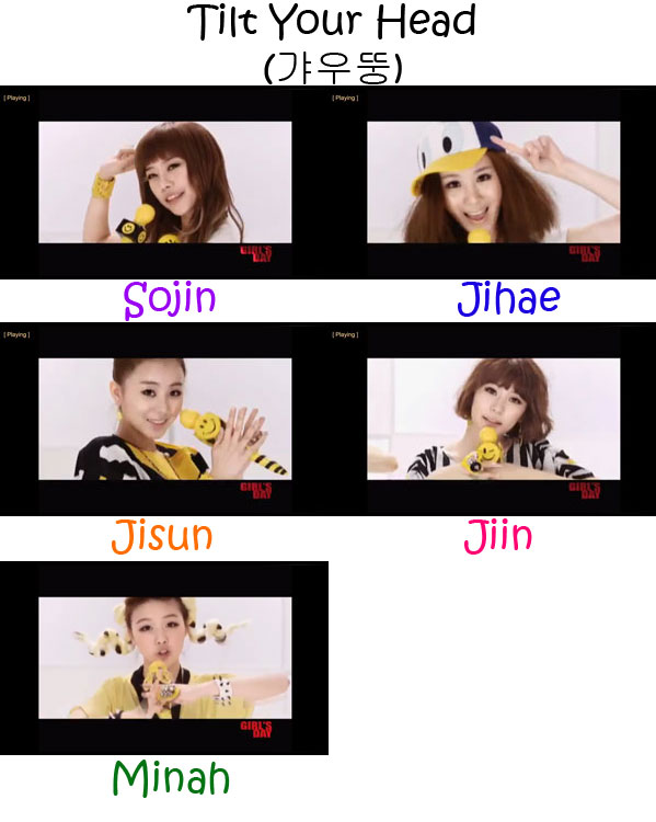 "The members of Girl's Day in the ""Tilt Your Head"" MV"
