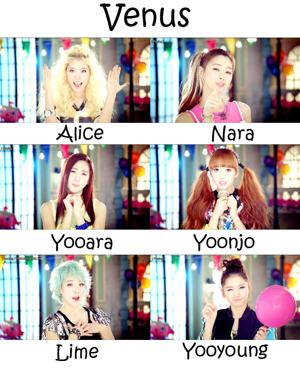 "The members of Hello Venus in the ""Venus"" MV"