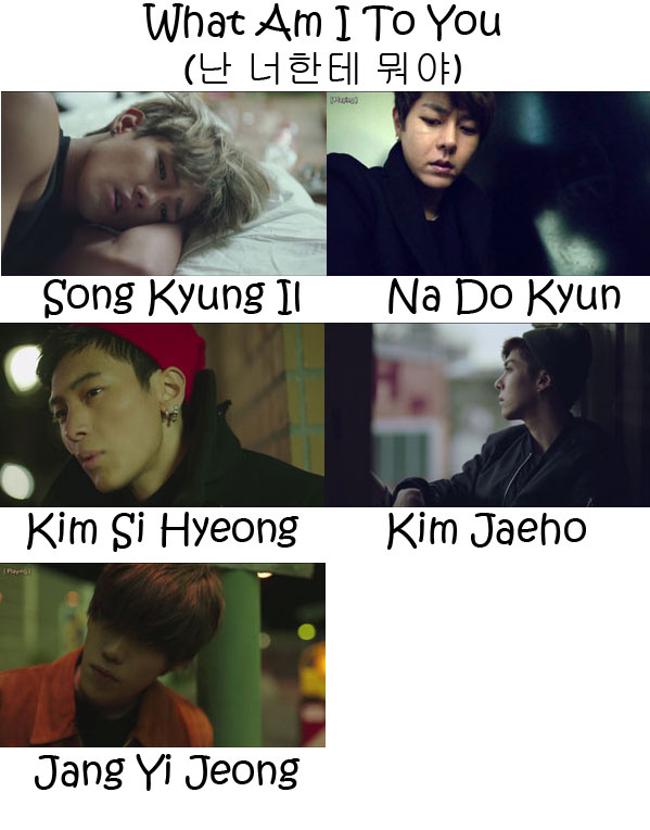 "The members of History in the ""What Am I To You"" MV"