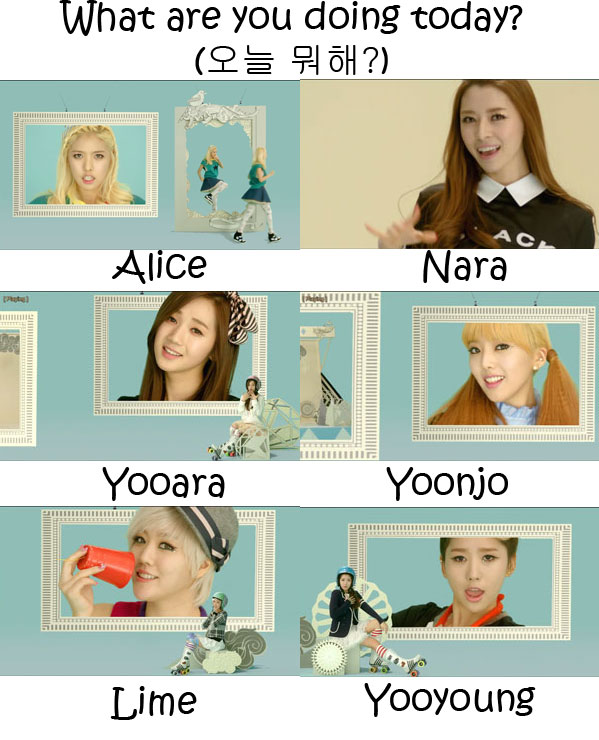 "The members of Hello Venus in the ""What Are You Doing Today"" MV"