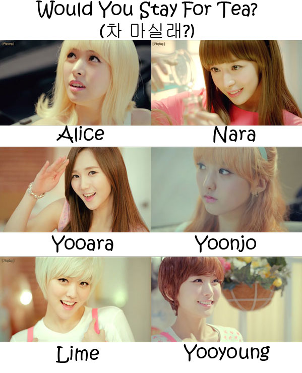 "The members of Hello Venus in the ""Would You Stay For Tea?"" MV"