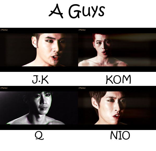 "The members of N.O.M (Nature Of Man) in the ""A Guys"" MV"